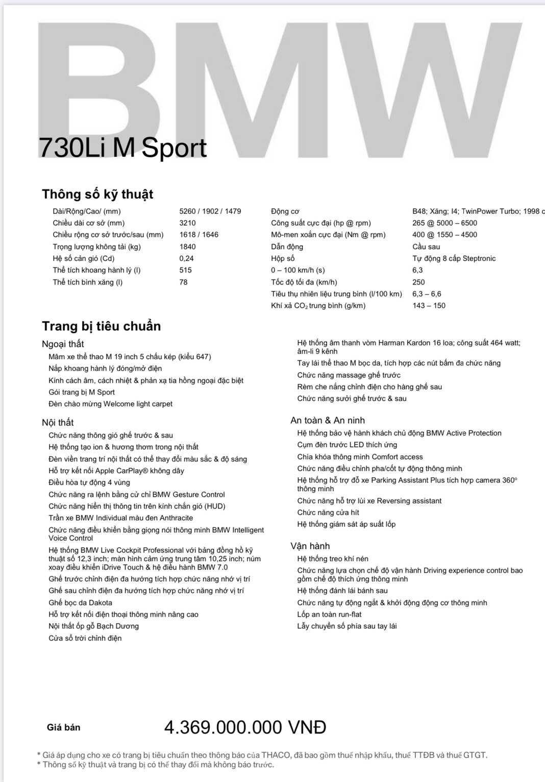 Thông số xe BMW 730Li M Sport 2021